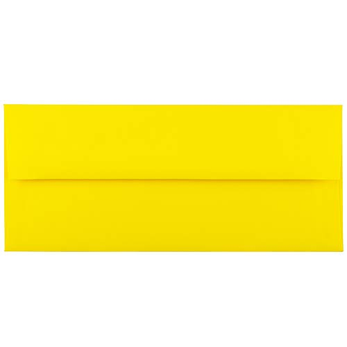 JAM PAPER #10 Business Colored Envelopes - 4 1/8 x 9 1/2 - Yellow Recycled - 50/Pack