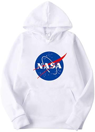 OLIPHEE Felpe con Cappuccio Tinta Unitta Stampa con NASA Maglione Semplice per Ragazze e Donna A-bai-1 L