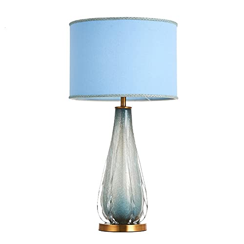 OUMYLFCNEC Table Lamps Modern Minimalist Table Lamp Gradient Color Glass Bedroom Bedside Lamp Creative Study Living Room Fabric Lampshade Lighting Lamp Dimmable Bedside Desk Lamp (Color : A)