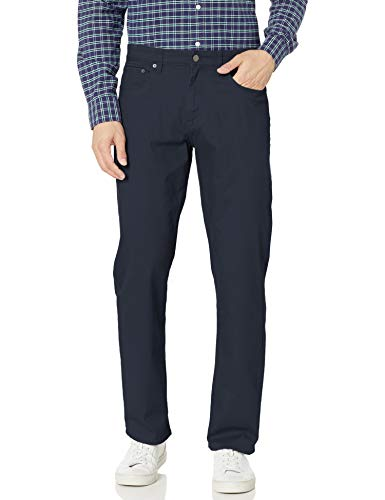 Amazon Essentials Men's Relaxed-Fit 5-Pocket Stretch Twill Pant, Navy, 35W x 32L