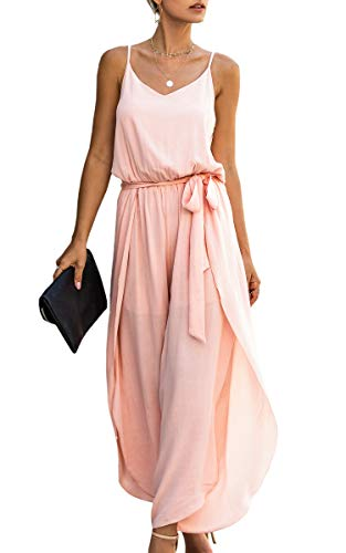 Spec4Y Jumpsuit Damen Lang V-Ausschnitt Elegant Ärmellos Einteiler Overall Hosenanzug Playsuit Romper Rosa Medium