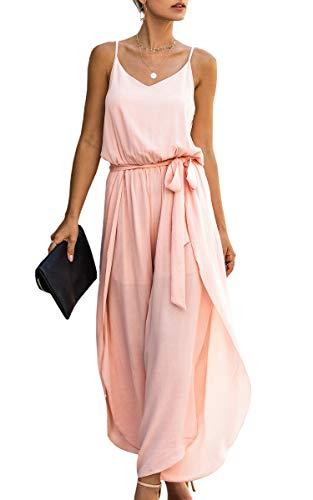 Spec4Y Jumpsuit Damen Lang V-Ausschnitt Elegant Ärmellos Einteiler Overall Hosenanzug Playsuit Romper Rosa Large