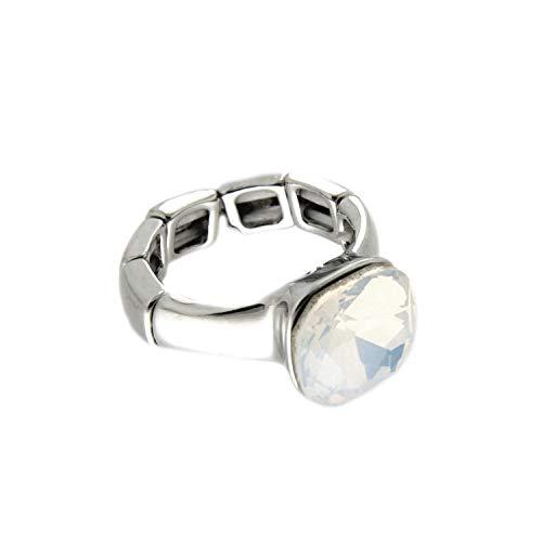 Sweet Deluxe Stretchring Diva, Silber/weiß Opal I Damen-Ring I Mode-Schmuck Ring für Frauen I Ringe Rings für Mädchen I modisches Design-Accessoires