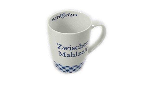 Porzellan Becher / Schale blau karo mit Spruch (Becher Zwischenmahlzeit)
