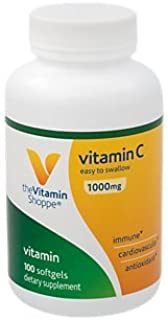 The Vitamin Shoppe Vitamin C 1,000MG, Easy to Swallow, Antioxidant That Supports Immune and Cardiovascular Health (100 Softgels)