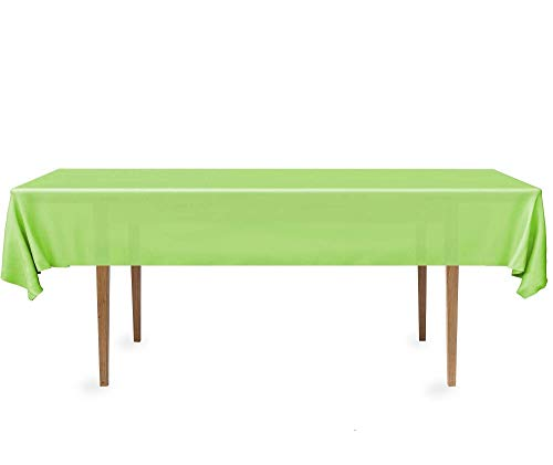 DecorRack 2 Rectangular Tablecloths -BPA- Free Plastic, 54 x 108 inch, Dining Table Cover Cloth Rectangle for Parties, Picnic, Camping and Outdoor, Disposable or Reusable in Light Green (2 Pack)