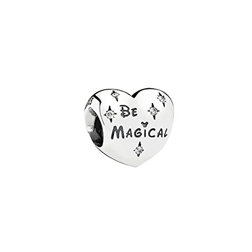 Be Magical Disney Heart Solid Bracelet Charm Sterling Silver S925