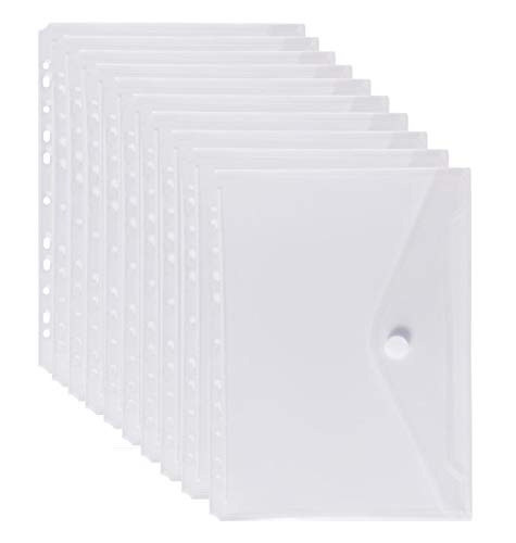 LaOficina 11 Holes Clear Poly Envelope Binders Pocket Insert with Hook and Loop Closure Letter Size 10 Packs