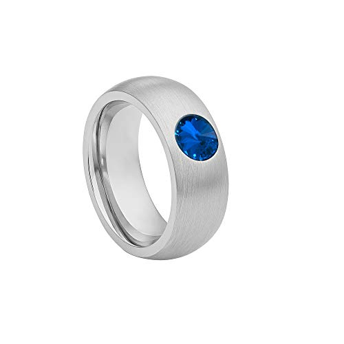 Heideman coma 8 Rings for Women in Acciaio INOX Colour Silver Ring with Zirconia Stone Blue