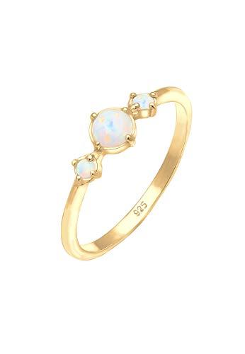 Elli Ring Damen Bandring Opal Geo Trio Trend Vintage in 925 Sterling Silber