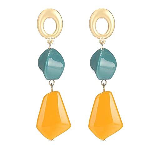 Trend Big Irregolare acrilico fatto a mano Boho Statement Clip su orecchini per fascino donna non forato Ear clip gioielli, DTTX001, giallo