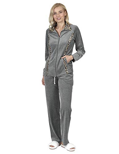 RAIKOU Damen Hausanzug Velours Nicki Trainingsanzug Freizeitanzug mit Reißverschluss (Grau Melange,40/42)