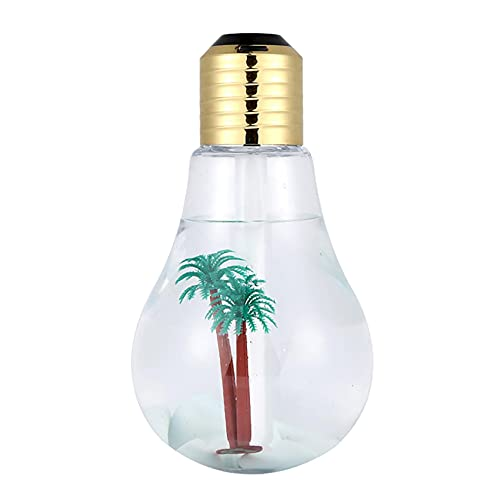 USB Portable Desktop Bulb Air Humidifier, Mini Colorful Humidifier with On/Off 7 Color Changing LED Night Lights, 400ml USB Portable Mist Air Humidifier For Home, Office, Bedroom, Baby Room (Gold)