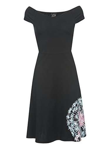 Pussy Deluxe Dandelion Dream Schulterfreies Kleid schwarz, Größe:XS