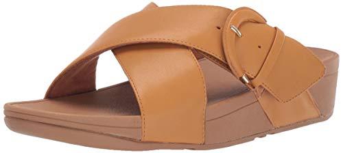 FitFlop Women's Lulu Buckle Slide Sandal, Yellow Brick, 8 M US