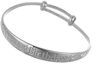 """Loyoe Jewelry Platinum Plated Kid's Expandable Bangle Carved""""Happy Birthday"""" for Baby Boy Girls"""