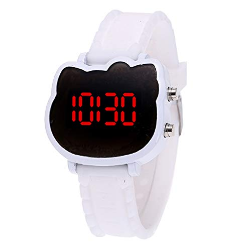 TrifCore Reloj de Gato Lindo para niños Reloj electrónico de LED Blanco...