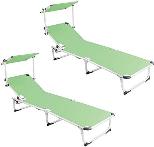 DIMPLEYA Jardin Patio lit réglable sunbed extérieur extérieur inclinable Repose-Pieds Chaise 188 X 58 X 24 cm Capacité de Charge 120 kg 2 pièces Vertes,Vert