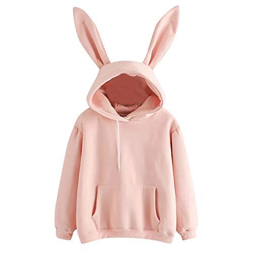 HEling Sudadera con Orejas de Conejo Casual Manga Larga Linda Sudaderas Adolescentes Chicas Tumblr Blusa Top Camisa