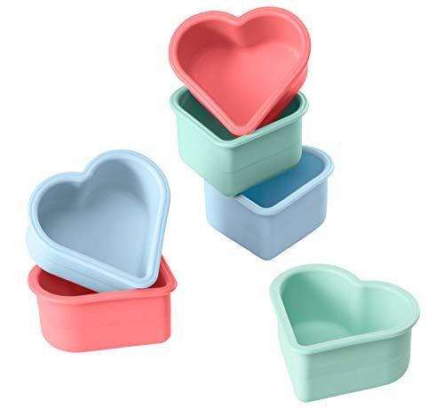 Lurch 83019 FlexiForm Muffin-Herzen 6er Set Pastel Mix / Backformen für kleine Herzen aus 100% BPA-freiem Platin Silikon