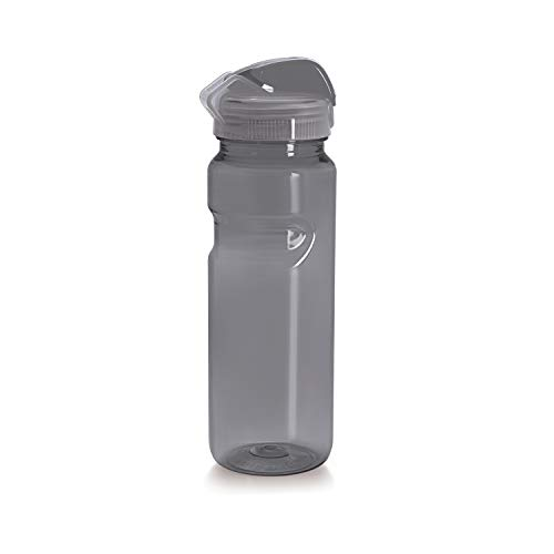 Sports Water Bottle BPA Free 23 Oz (700 ml) Break Proof Ergonomic Water Bottle with Wide Mouth & Easy Flip Top Cap for Office, Gym, Swimming, Running Reusable Drinking Container by Cello (Smoke Grey)