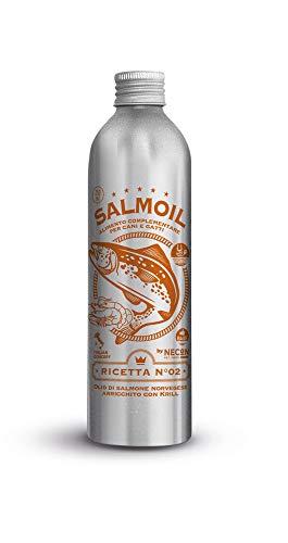 SALMOIL by NECON Pet Food Ricetta 2, Alimento complementare/Cibo per Cani e Gatti a Base di Olio di Salmone Norvegese e Krill da 250 ml, Ricco di Vitamina E, Omega3, No Conservanti, Made in Italy