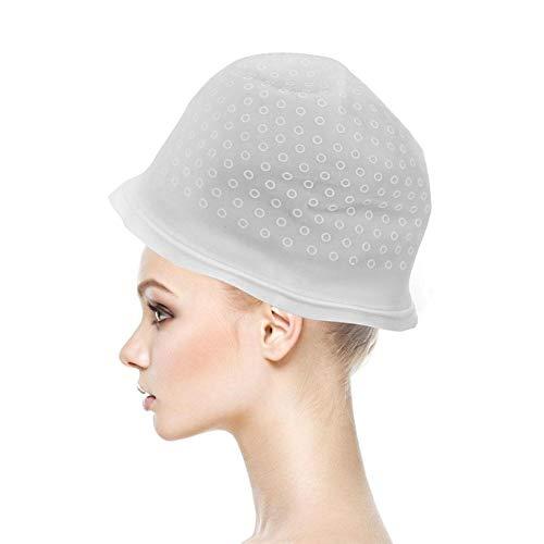 Gorro de gel para teñir el cabello, Gorro de silicona para salón de belleza con gancho para mujeres Niñas Accesorio de peinado de cabello reutilizable Herramienta de peluquería profesional (Blanco)