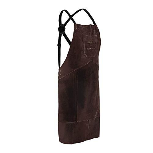 Stamos Welding Group Mandil Para Soldador Delantal De Cuero SWA03XL (Costuras de hilo sintético, 109 x 63,5 cm, Serraje vacuno, Talla XL)