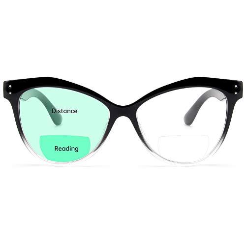 Livho Cat Eye Bifocal Blue Light Blocking Reading Glasses for Women Men, Computer Readers Eye Strain Headache (Black Clear, 1.5)
