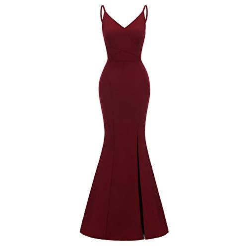 ZCRFYY Vestido de Noche Largo de 2020 Bolso de la Correa de la Cadera Ropa de Mujer,Rojo,S