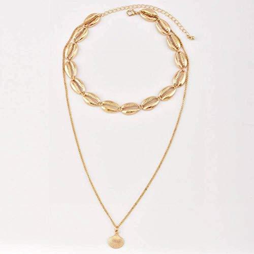 Modeschmuck für Frauen Handgefertigte Halskette Damenschmuck, WOZUIMEI, Gold, 37 cm lang