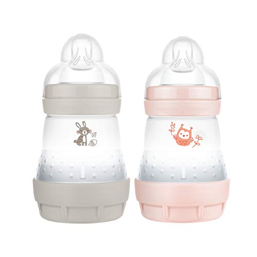 MAM Easy Start Anti-Colic Elements - Juego de 2 biberones (160 ml), Botella de Leche para la Lactancia Materna, Botella para bebé con válvula Inferior contra cólicos, Conejo y búho