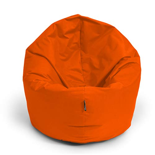 BuBiBag Sitzsack M - XXL 2-in-1 Funktionen mit Füllung Sitzkissen Bodenkissen Kissen Sessel BeanBag (100cm Durchmesser, Neonorange)