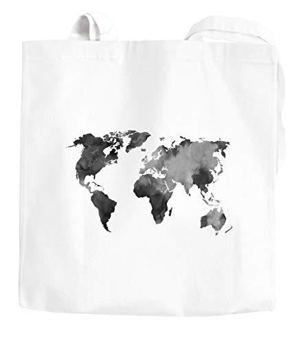 Jutebeutel Weltkarte Wasserfarben Watercolor World Map Baumwolltasche Stoffbeutel...