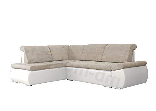 mb-moebel Ecksofa Sofa Eckcouch Couch mit Schlaffunktion und Bettkasten Ottomane L-Form Schlafsofa Bettsofa Polstergarnitur - Bonita (Ecksofa Links, Beige + Weiß)