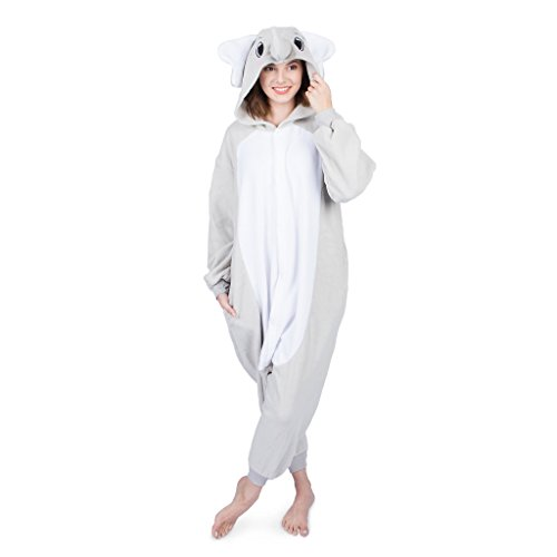 Emolly Fashion Adult Elephant Animal Onesie Costume Pajamas for Adults and Teens (X-Large, Gray)