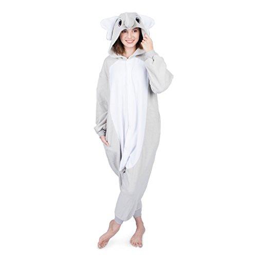 Emolly Fashion Adult Elephant Animal Onesie Costume Pajamas for Adults and Teens (Medium, Gray)