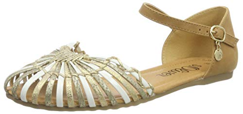 s.Oliver Damskie baleriny 5-5-28122-32 990 z odkrytymi palcami, Gold Comb, 39 eu