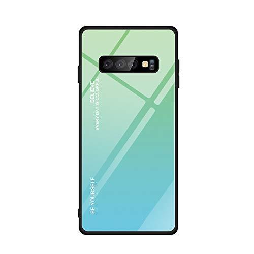 Hexcbay Custodia in vetro serie compatibile Samsung Galaxy S10 Custodia in vetro temperato per cellulare doppio retro Custodia protettiva antigraffio morbido (Samsung Galaxy S10, verde)