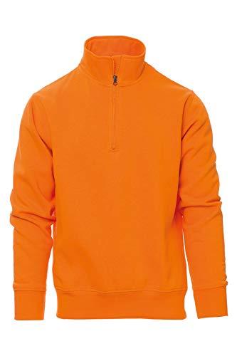 Mivaro Herren Troyer, Pullover mit 1/4 Reißverschluss, hoher Kragen, ohne Kapuze, Größe:3XL, Farbe:Orange