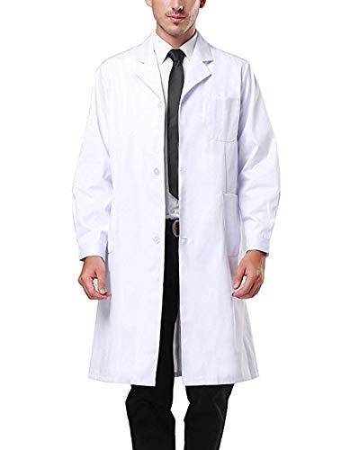 Camice Laboratorio Chimica Ragazzo, Camici Bianco Laboratorio Uomo,Camicia Lunga Unisex Cappotto Sanitari per Studenti di Scuola, Ospedale, Medico, per Studenti di Arte (L)