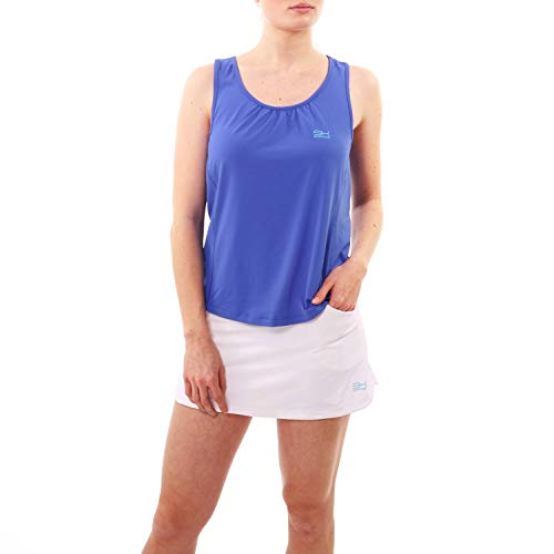 Sportkind Mädchen & Damen Tennis, Fitness, Sport Tanktop Loose Fit, atmungsaktiv, UV-Schutz UPF 50+, Kornblumen blau, Gr. 152