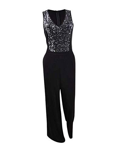 Karen Kane Sequin Inset Jumpsuit Black XL
