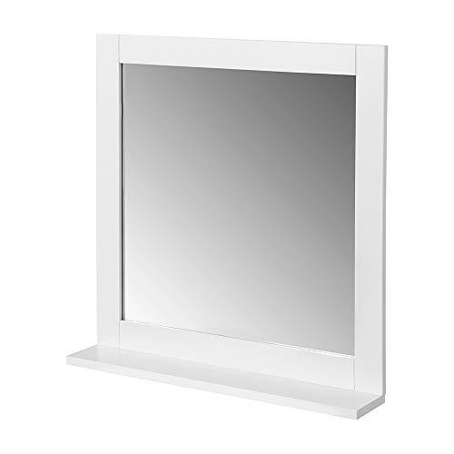 SoBuy BZR16-W Spiegel Wandspiegel Badspiegel mit Ablage Hängespigel Badmöbel weiß BHT ca: 57x58x12cm