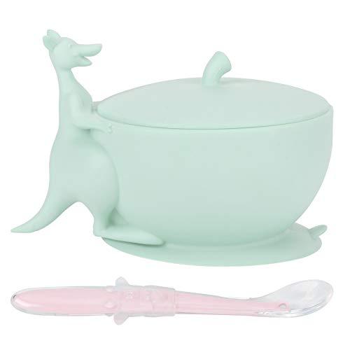 DAUERHAFT Baby Bowl, Lindo Juego de cucharas de Silicona con Cuenco de alimentación para bebés con Base de succión, vajilla Antideslizante para Que los niños pequeños aprendan a Comer(Green)