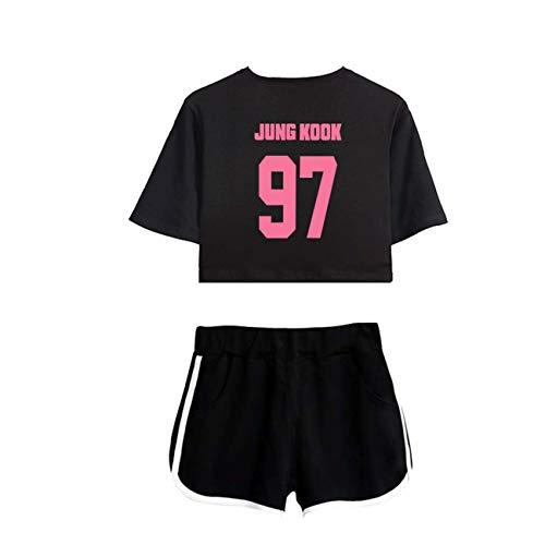 ZIGJOY Kpop Bulletproof Boy Scouts Map of The Soul Persona T-Shirt Top T-Shirts Shorts Kleidung Anzug Suga Jin Jimin V Jungkook J-Hoffnung für Fans Jungkook BB XS