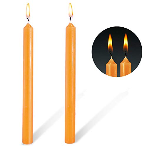YYHC Unscented Arista Dinner Taper Candles (Orange), 10-Inch Tall-2 Pack