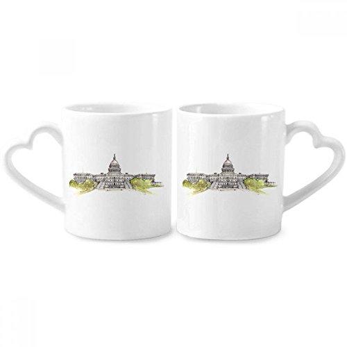 DIYthinker Tassen Capitol Paare Vereinigte Staaten Keramik-Liebhaber Cup Herz Griff 12 Unzen Geschenk Mehrfarbig