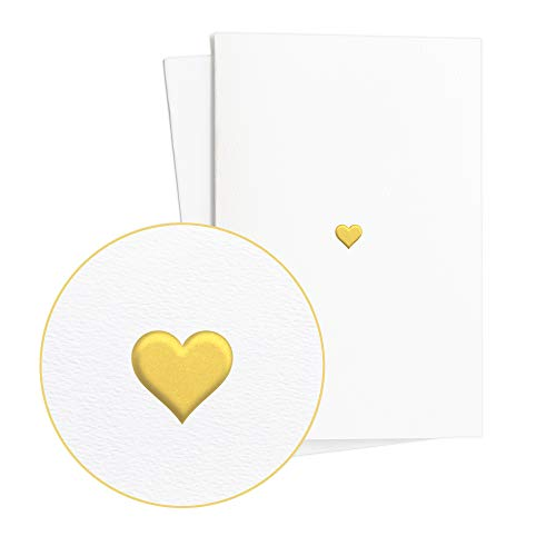 2er Set Hochzeitskarten Edel mit Herz in Goldfolienprägung auf hcohwertigem Papier, Ausgefallene Glückwunschkarte zur Hochzeit, Verlobung oder zum Hochzeitstag, E14