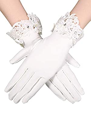 Sumind Short Satin Gloves Wrist Length Gloves Women's Gown Gloves Opera Wedding Banquet Dress Glove for Party Dance